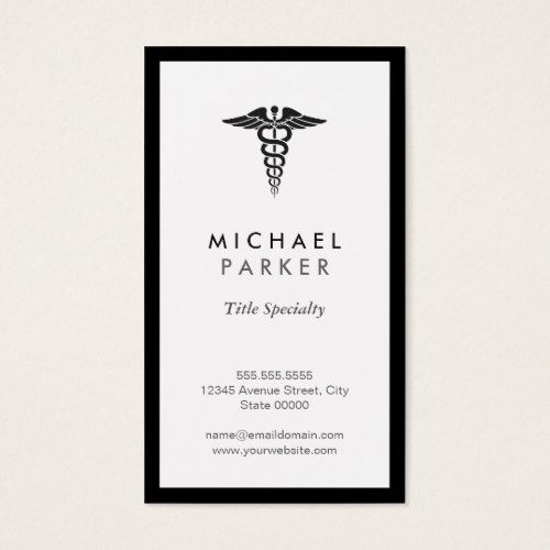 Caduceus Medical Symbol Retro Black And White Business Card