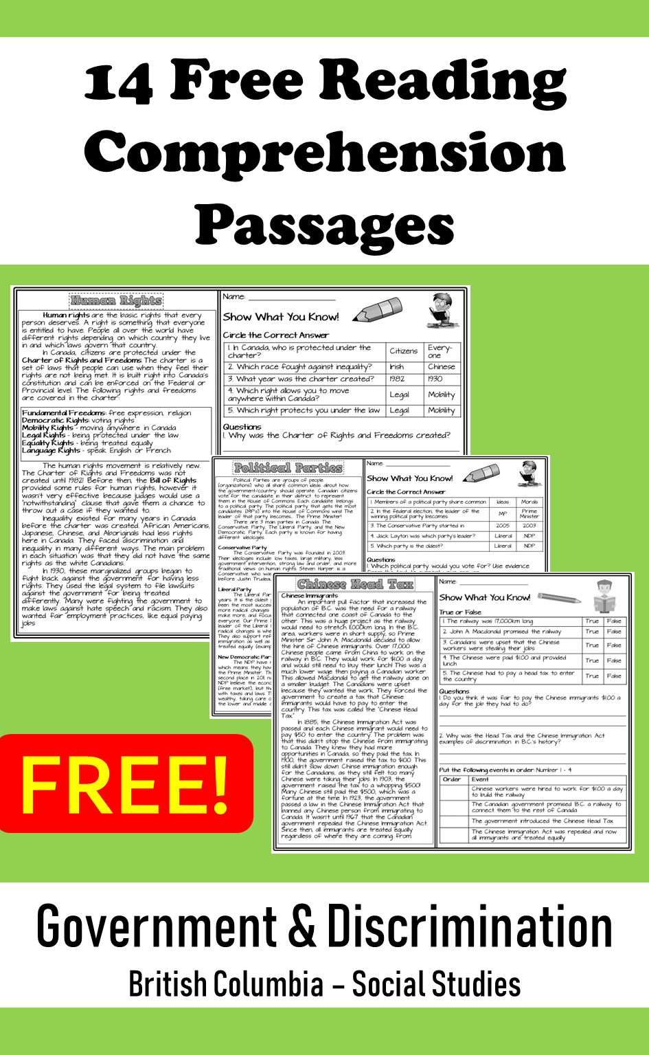 14 Free Reading Comprehension Passages for British Columbia Social Studies    Reading comprehension passages [ 1535 x 945 Pixel ]