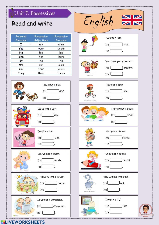 Pronombres y adjetivos posesivos interactive and