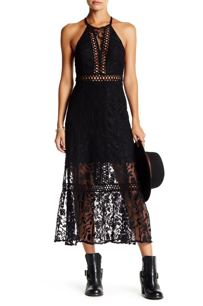 51126b426f4 Free People Anastasia Lace Maxi Dress Size 8 NWT Black  FreePeople   EmpireWaistMaxi  any