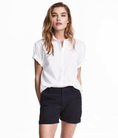 d699b59d25 Cotton Shorts | Dark blue | Women | H&M US | Style and Trends ...