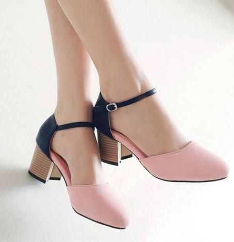 87994e081c Womens Lady Sweet Girl Block Chunky Mid Heels Ankle Strap Buckle Sandals  Shoes