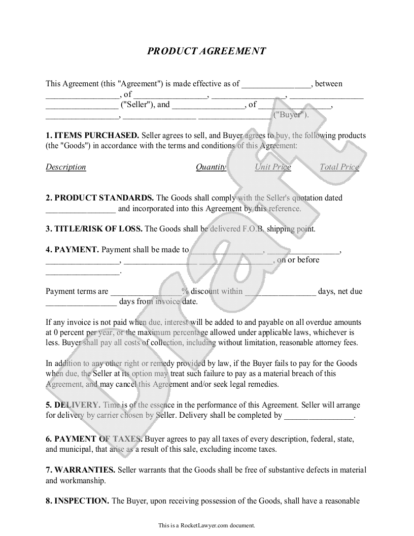 Product Agreement  Product Contract Form With Sample  Product