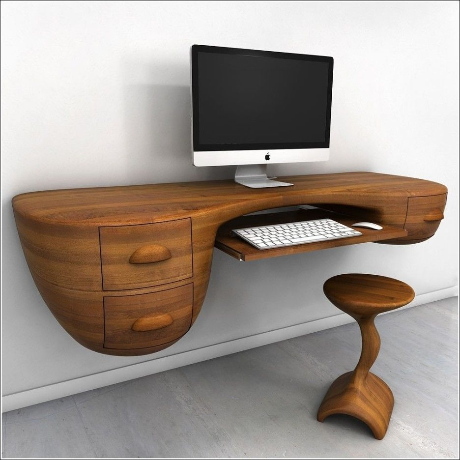 Furniture. Rustic Contemporary Floating Wooden Desk With Stool In Brown  Color Furnishing Combined With Gray