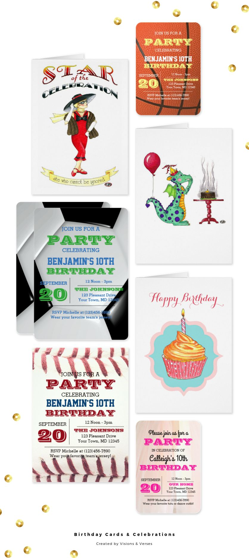 A collection of birthday cards and birthday party essentials
