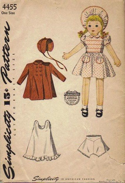 Rag Doll 1940s Sewing Pattern Simplicity Stuffed Baby Doll with ...