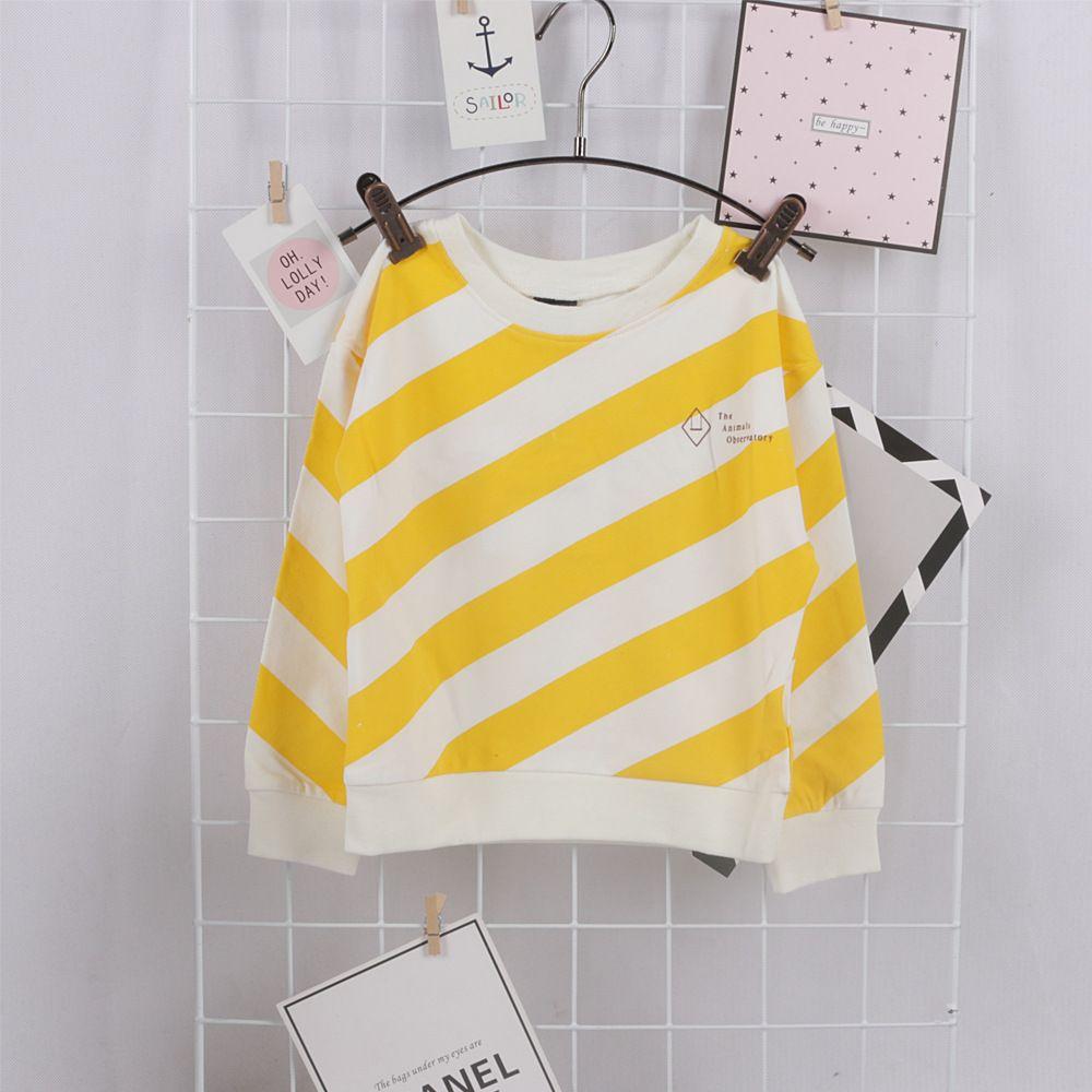 c3fa16ba0452 Autumn Girls Baby T-Shirt Cotton yellow striped full sleeve tops ...