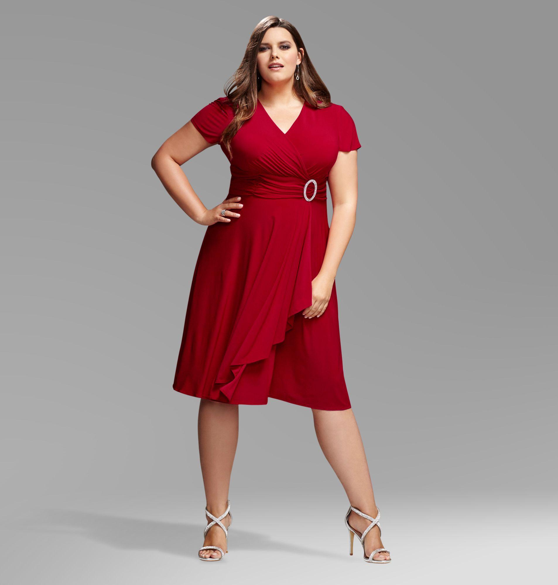 Avenue Plus Size Red Stone Ring Wrap Dress  Dresses