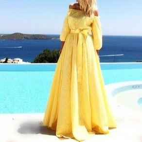 yellow plain lace pleated boat neck 3/4 sleeve maxi dress  abendkleider mit ärmel elegantes