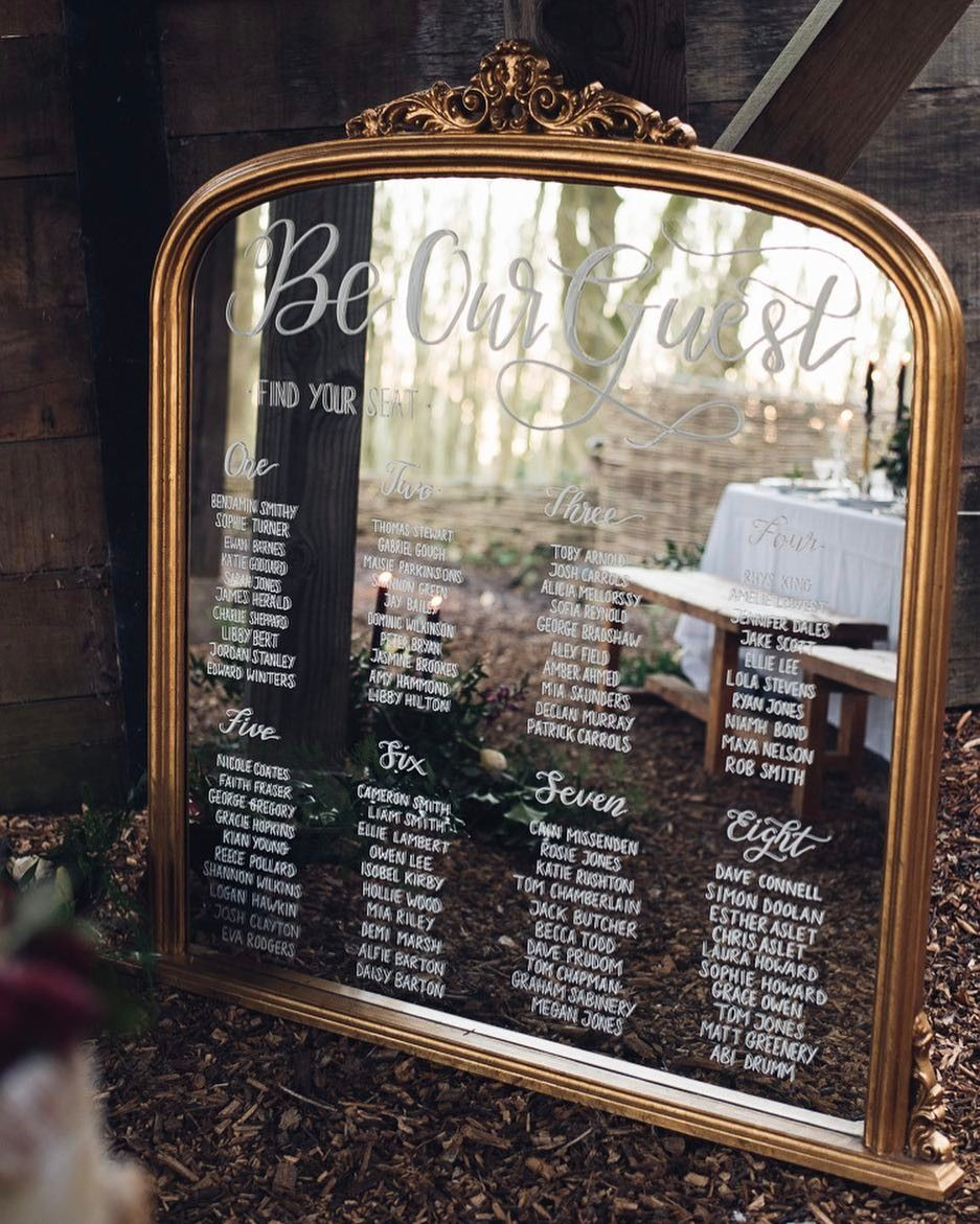 Whimsical Wonderland Weddings On Instagram Be Our Guest Beauty And The Beast Seating Plan L Wedding Table Plan Seating Plan Wedding Mirror Seating Chart