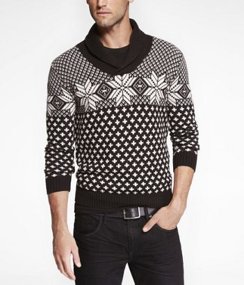FAIR ISLE SHAWL COLLAR SWEATER at Express....already have this one ...