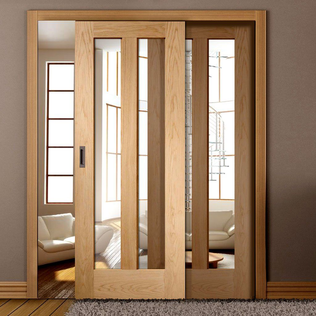 Easislide op oak novara sliding door system in three size widths