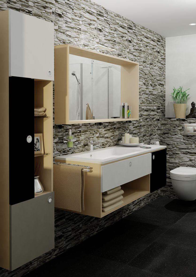 Stoere retro badkamer met badkamermeubel Jazz van Tiger ...