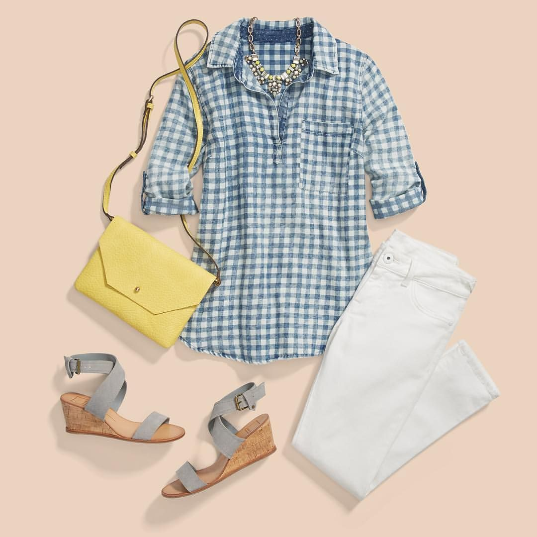 Add Some Prep To Your Step Love The Look Ask Your Stylist For Gingham Wedges Amp Pops Of Color