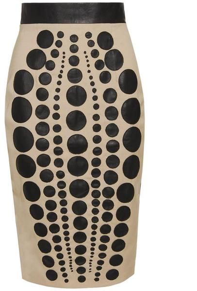 Laser Cut Leather and Wool Pencil Skirt - Lyst