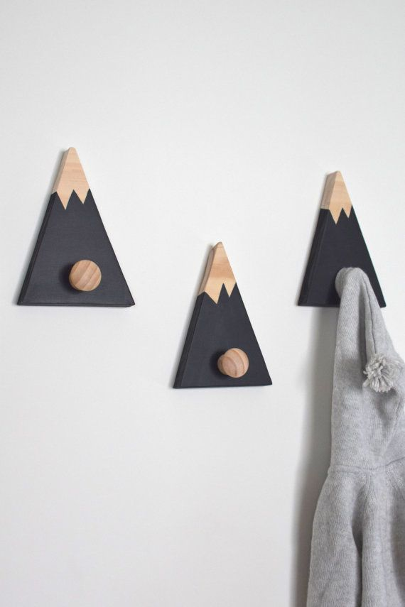 Wall hooks for kids, Mountain Wall Hooks,  Mountain Peak Clothes Hanger, Mountain Peak Wall Decor, Woodland Nursery Decor, Nursery Decor,