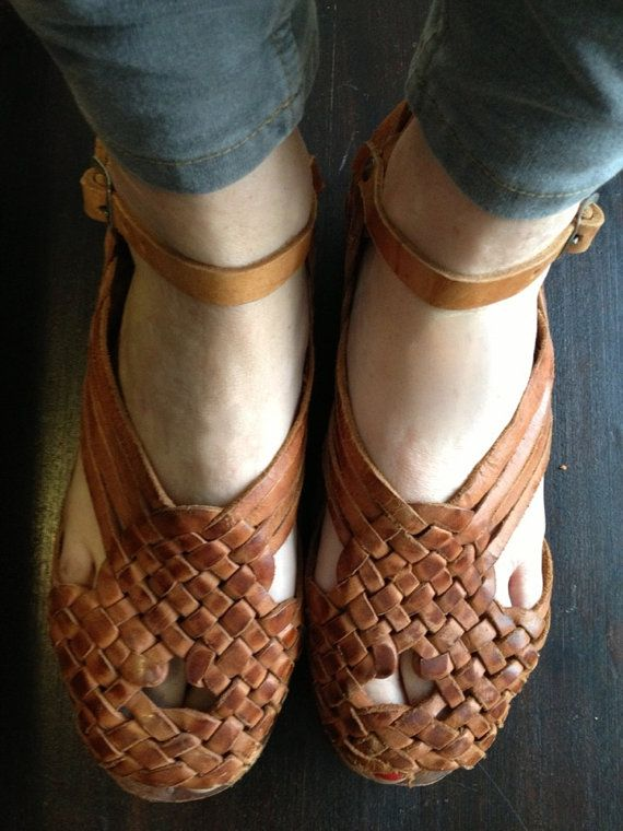 f219542bd29 Vintage Mary Jane tan leather huaraches basket by fancydisaster ...