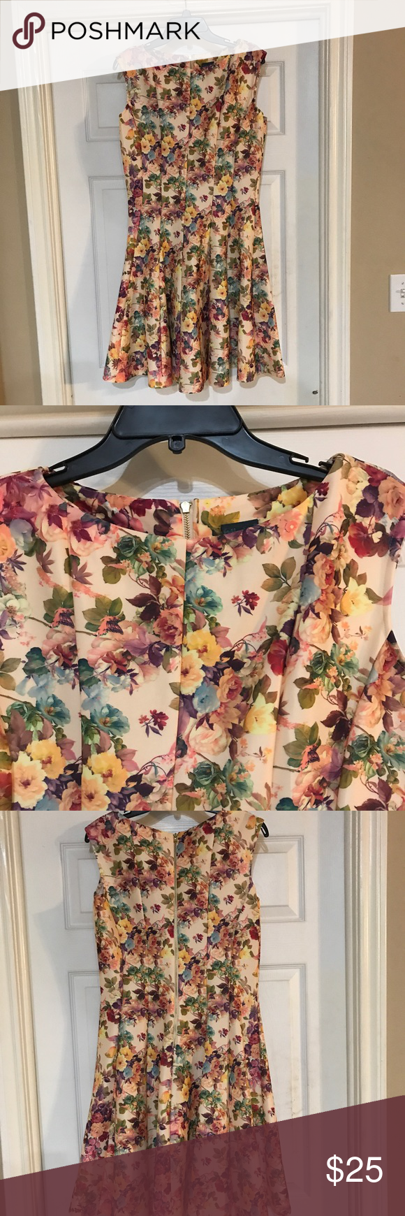 Vintage Floral Print Pleated Dress Gabby Skye vintage floral style pleated scuba dress with high neckline and zipper closure in the back. Worn for a wedding shower. Great condition. Size 14 but fits more like a 12. Dresses