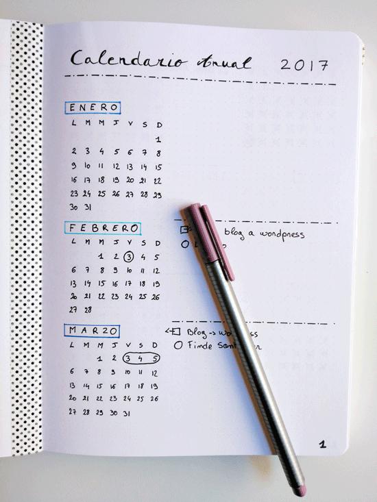 Cómo he empezado mi bullet journal + opinión | Calendario anual ...