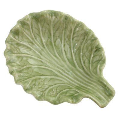 Novica Lettuce Leaf Hand-crafted Ceramic Plate