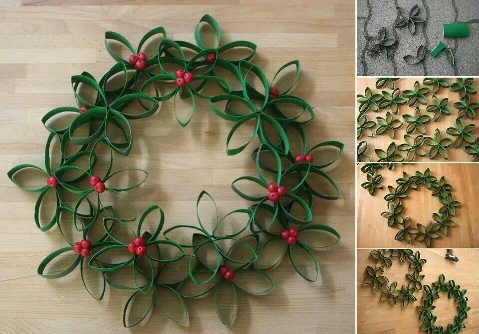 Toilet Paper Roll Wreath Creando Pinterest Feliz Navidad - Adornos-de-navidad-reciclados-como-hacerlos