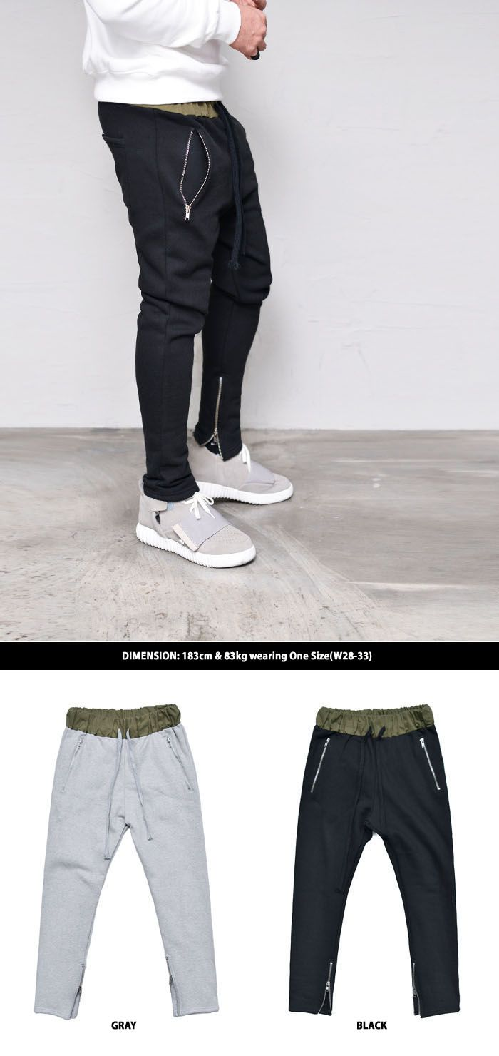 Fleece Lined Zipper Leg Banding Sweats-Sweatpants 319 by Guylook.com  Top quality thick jersey with warm & cozy full fleece lining Contrast banding waist with drawcord Flattering semi-baggy cut with fitted zipper legs Super comfy & great-looking