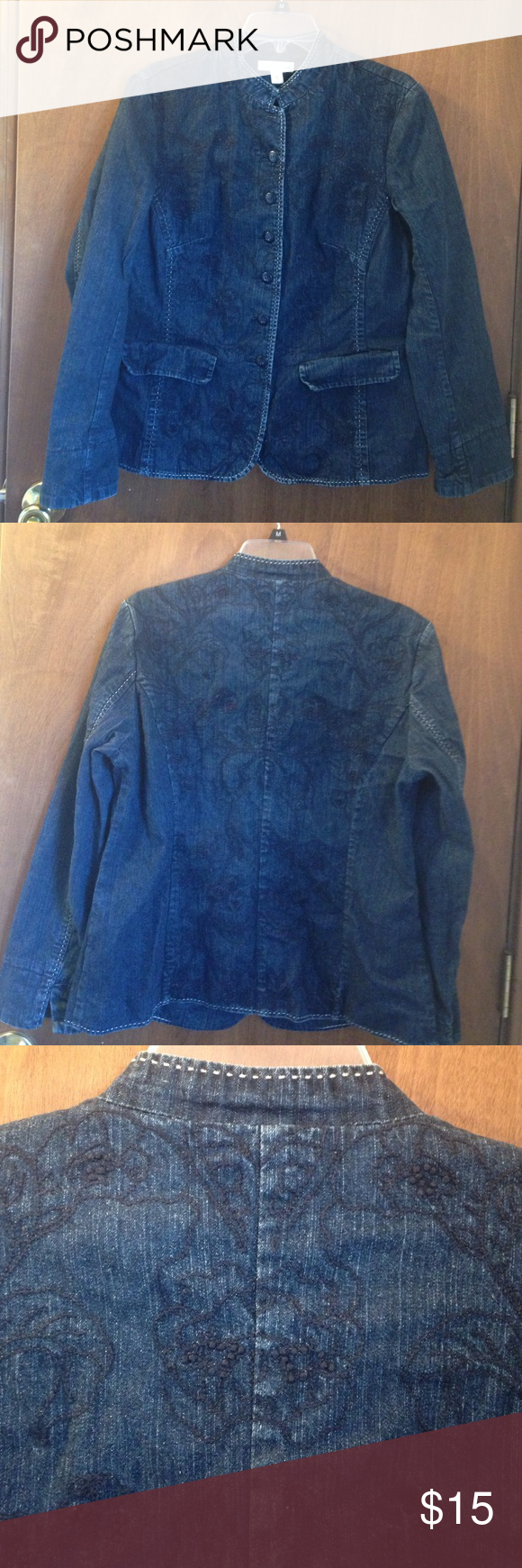 Denim jacket with embroidered detail front & back Denim jacket. Dressy embroidered detail on front and back coldwater creek brand Coldwater Creek Jackets & Coats Blazers