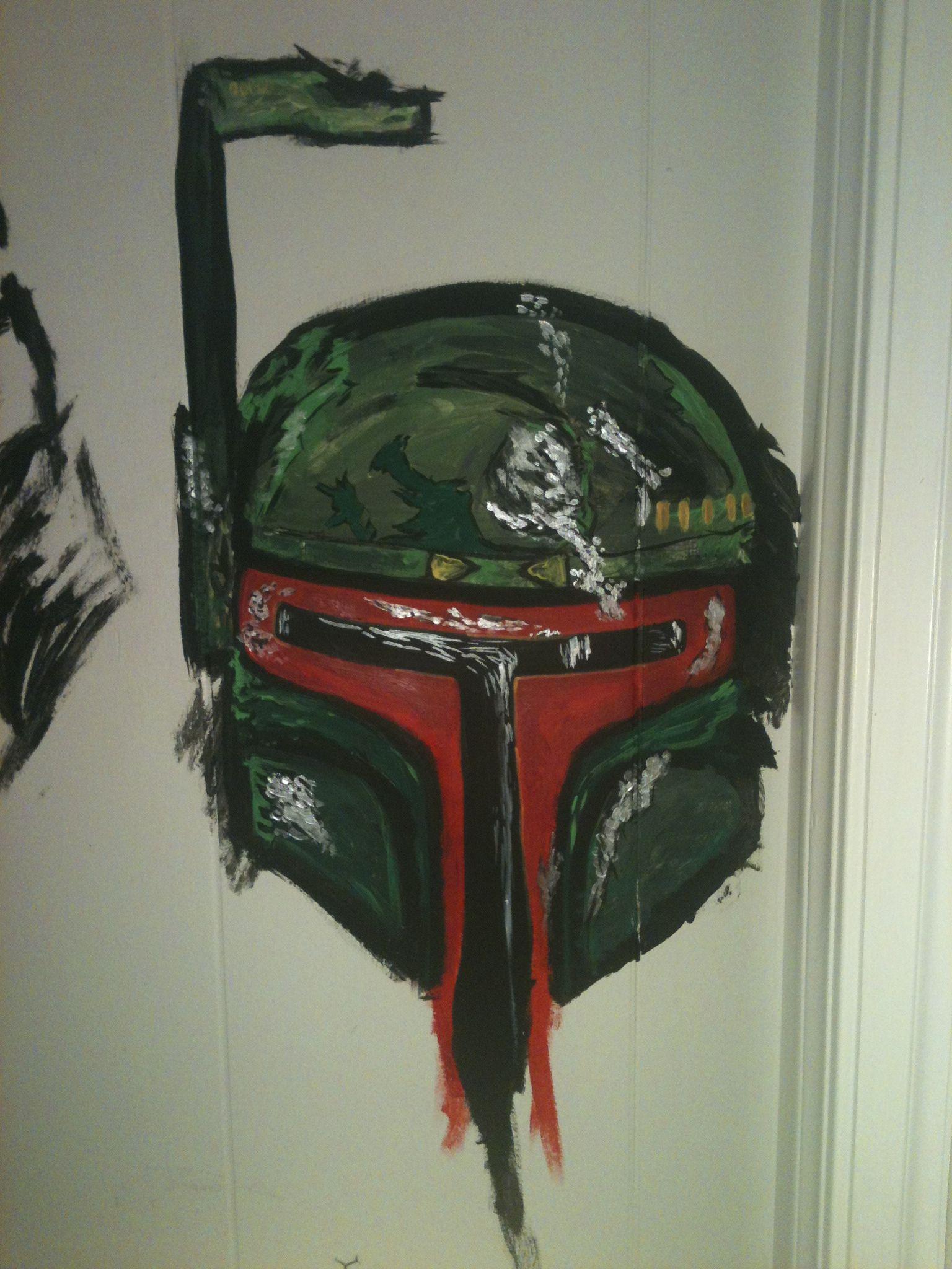 Boba fett helmet i painted on the wall of my art room