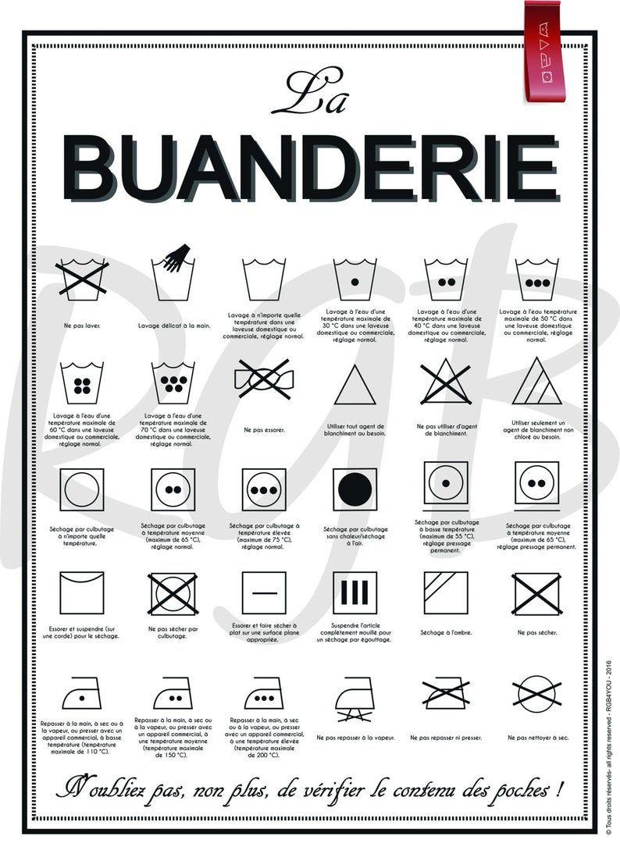 Affiche Papier La Buanderie Avec Explications Des Symboles De Lavage En 2020 Avec Images Buanderie Etiquette Lavage Symbole Lavage