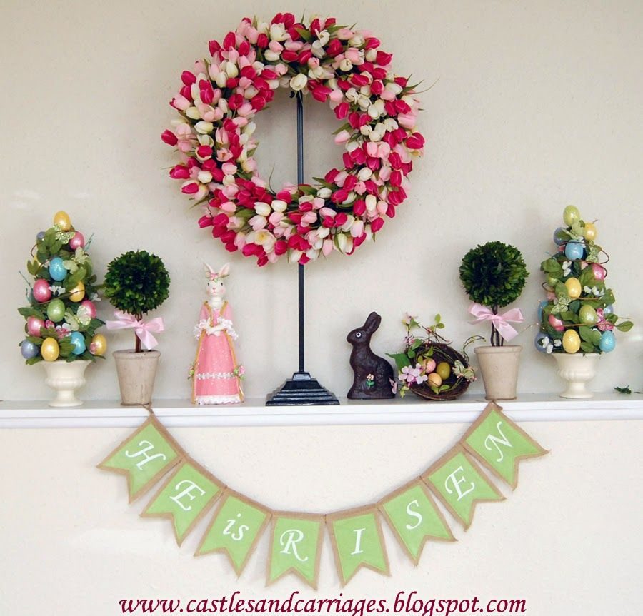 How to make these Easter Egg Topiaries and Spring Tulip Wreath www.castlesandcarriages.blogspot.com