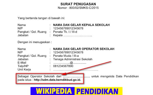 Pin Di Wikipedia Pendidikan Contoh Surat Tugas Operator Sekolah