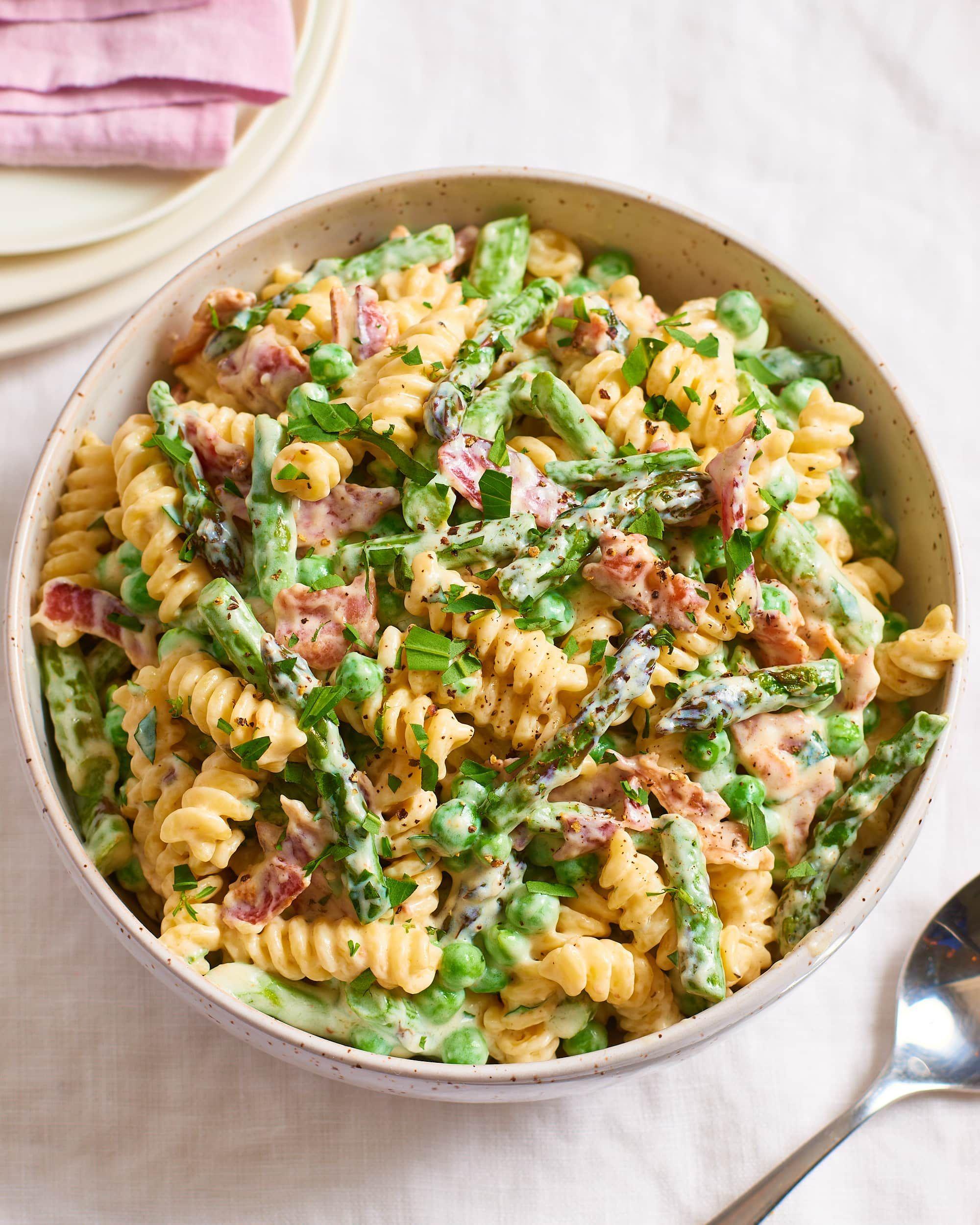 Asparagus And Bacon Pasta Recipe In 2020 Asparagus Bacon
