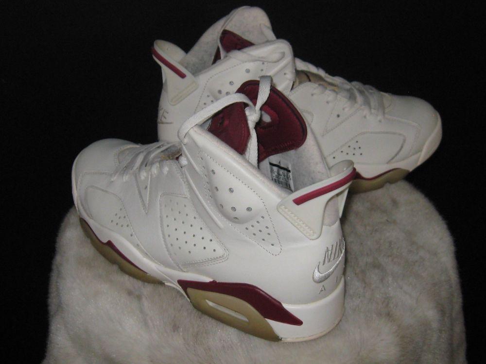 timeless design 74dd1 a188a Nike Air Jordan 6 Retro High Sneakers Sz 9.5 Off-White Maroon 384664 116   Nike  BasketballShoes