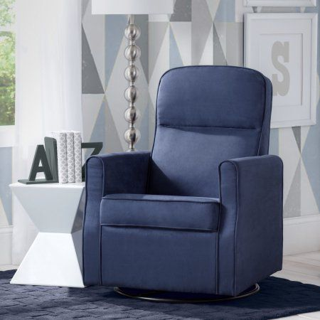 Delta Children Clair Nursery Glider Swivel Rocker Chair Navy Blue