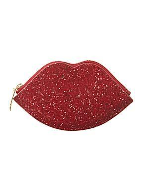 Lulu Guinness Glitter Lips Red Coin Purse Glitter Lips Purses