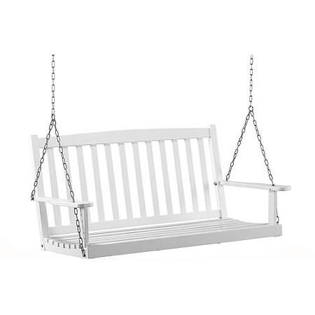 Mainstays White Wood Porch Swing | Walmart (Price: $129)