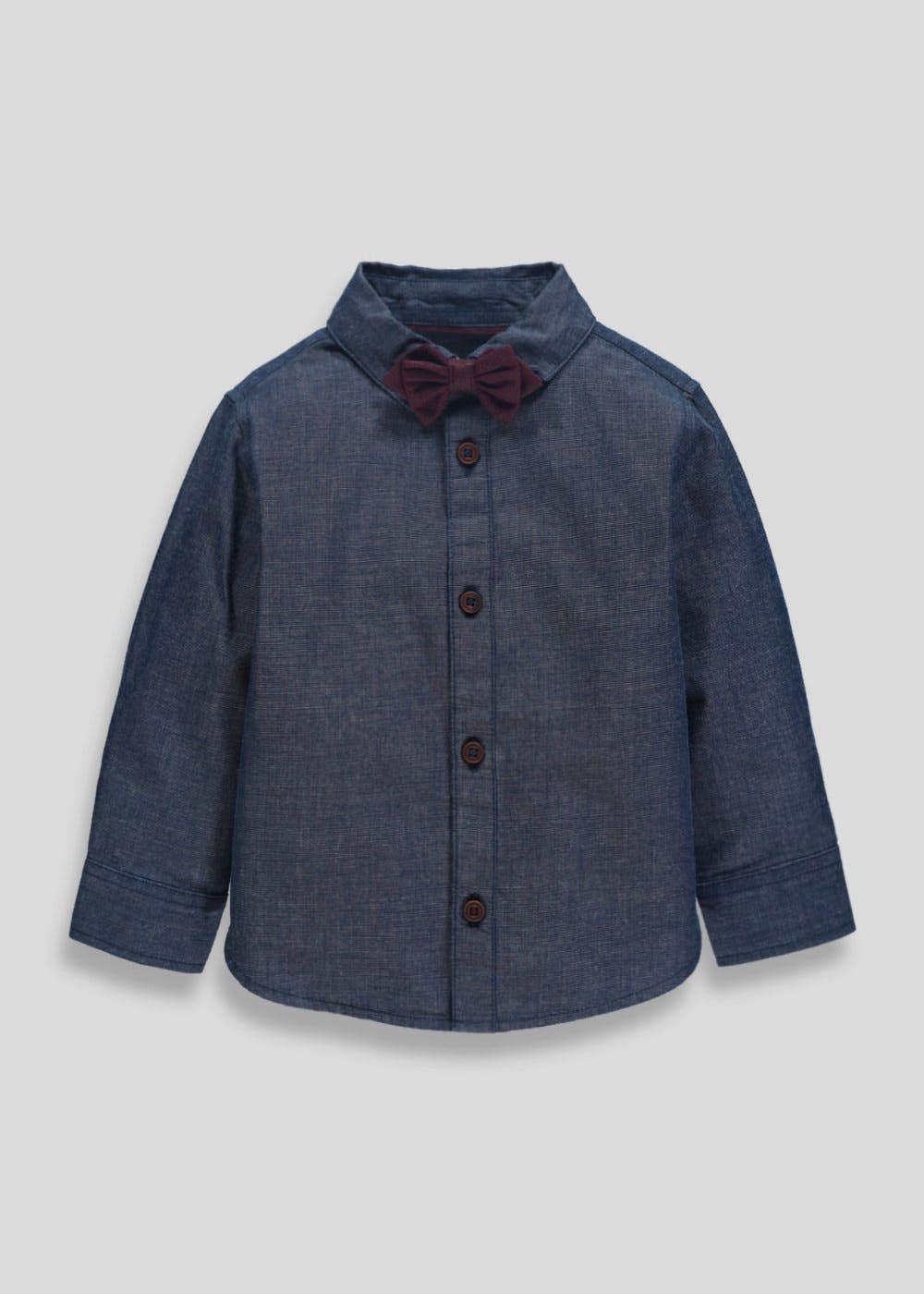 b02990ad Boys Shirt & Bow Tie Set (6mths-6yrs) – Navy – Matalan