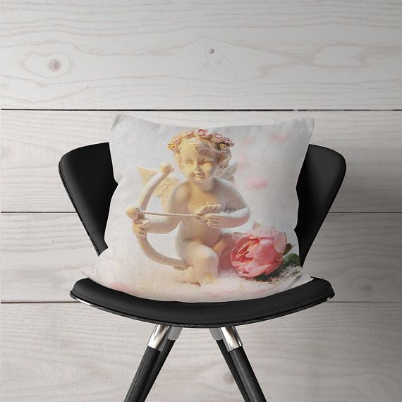 Cupid Angel With Rose Decor 18x18 Angel Pillow Guardian Angel Gift