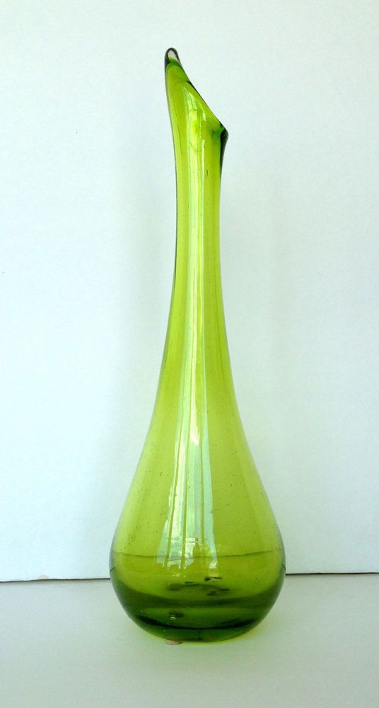Gorgeous Green Swung Vase Tall Flower Stand Pot Vintage Mcm Swung