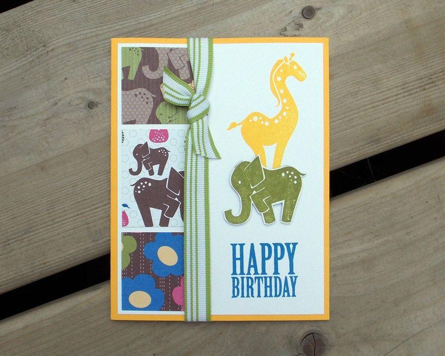 Childrens Birthday Card Handmade Zoo Theme Birthday Card - Handmade childrens birthday cards