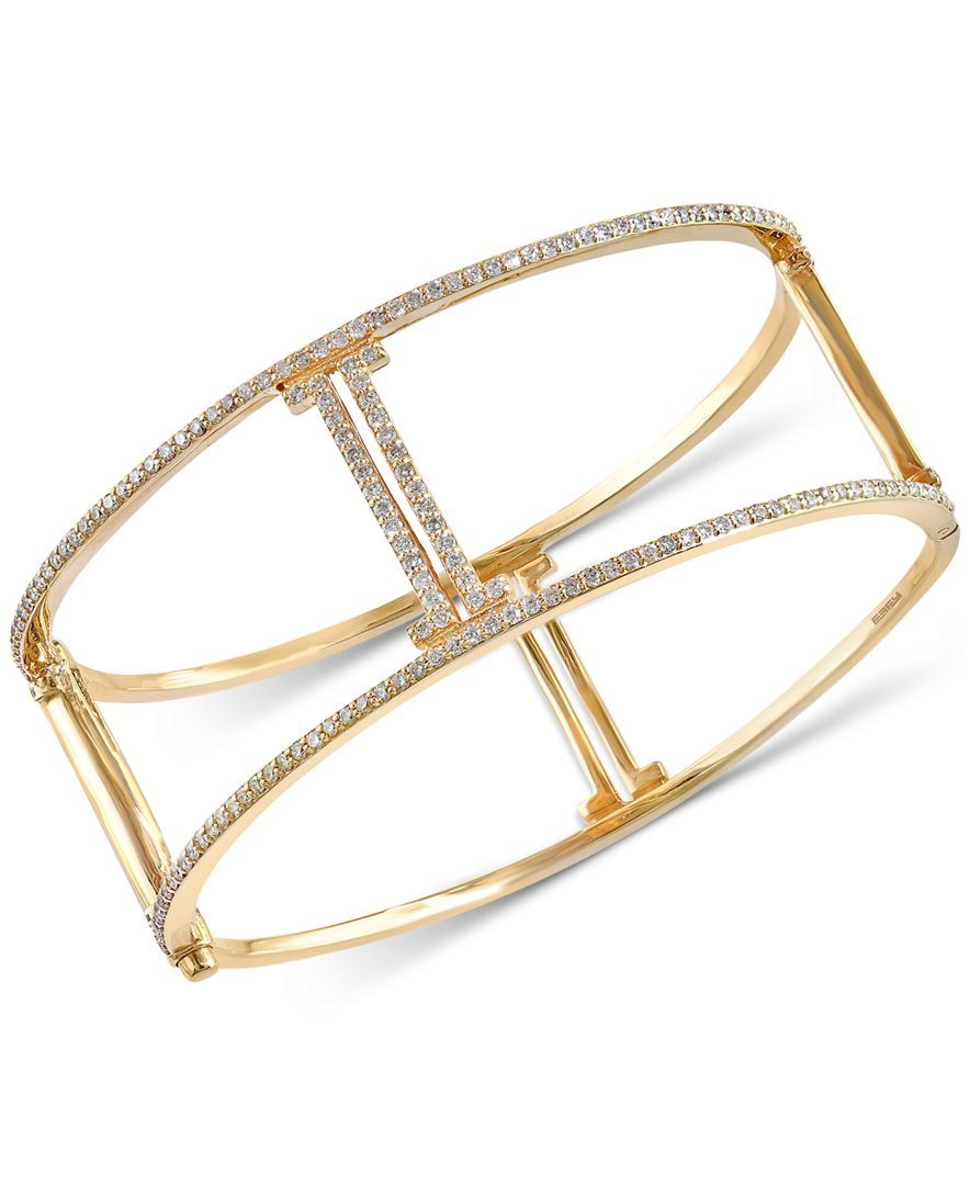 Effy diamond cutout bangle bracelet ct tw in k gold