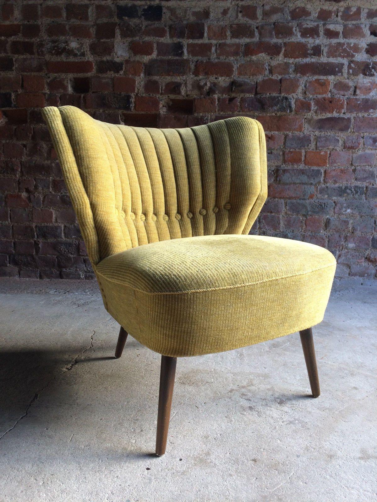 Cocktail Chair Club Chair Mid Century Art Deco Style Yellow Circa ...