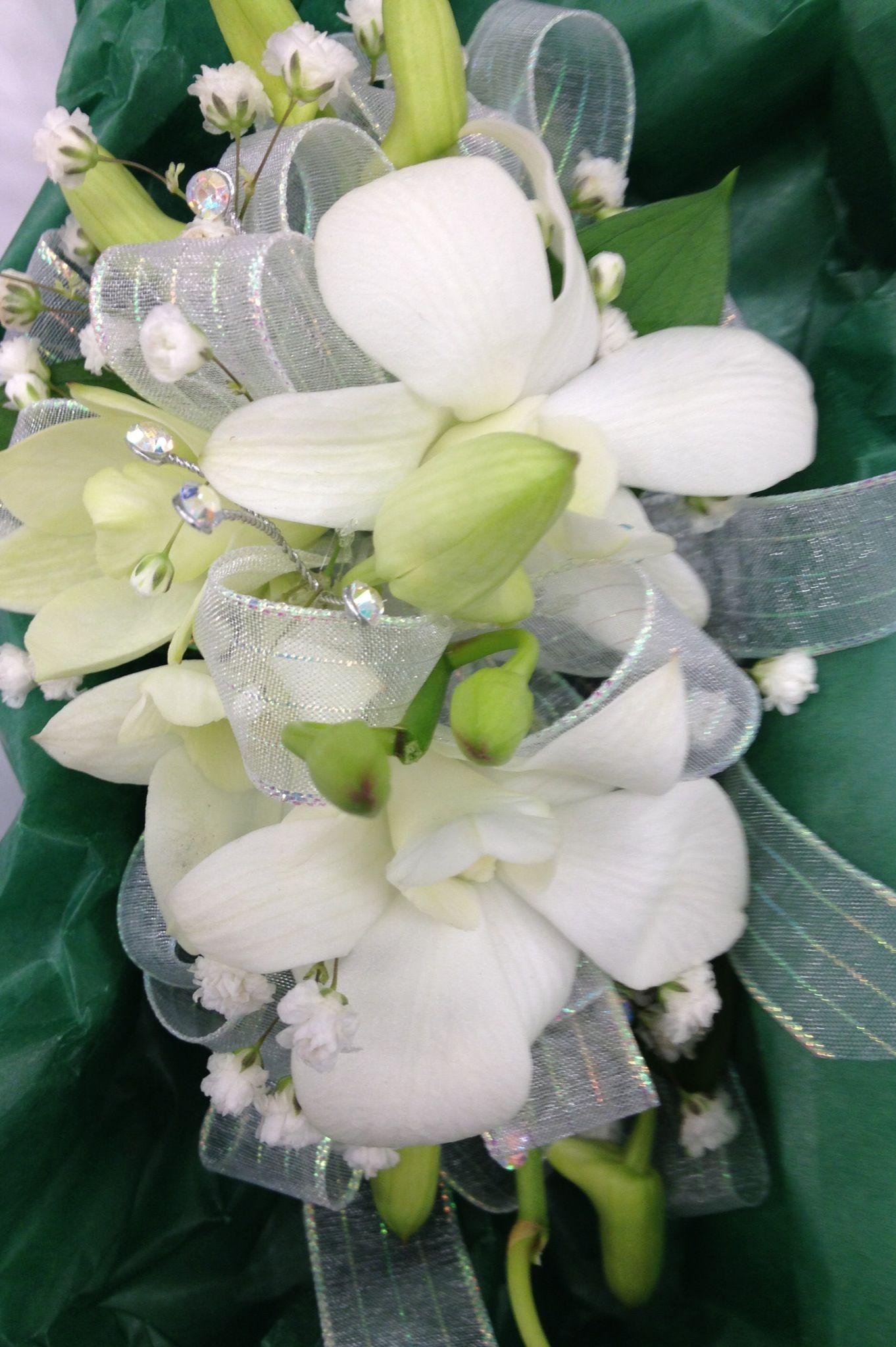 Dendrobium orchid corsage with rhinestone wedding pinterest