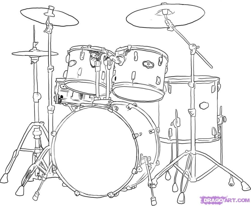 How To Draw Drums, Step by Step, Percussion, Musical