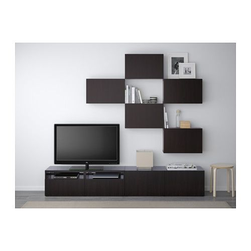 BESTÅ TV storage combination - Lappviken black-brown, drawer runner, soft-closing - IKEA