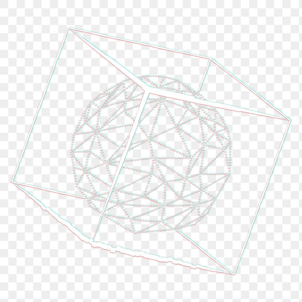 3d Icosahedron In A Cube With Glitch Effect Design Element Free Image By Rawpixel Com Aew Glitch Effect Geometric Pattern Design Elements