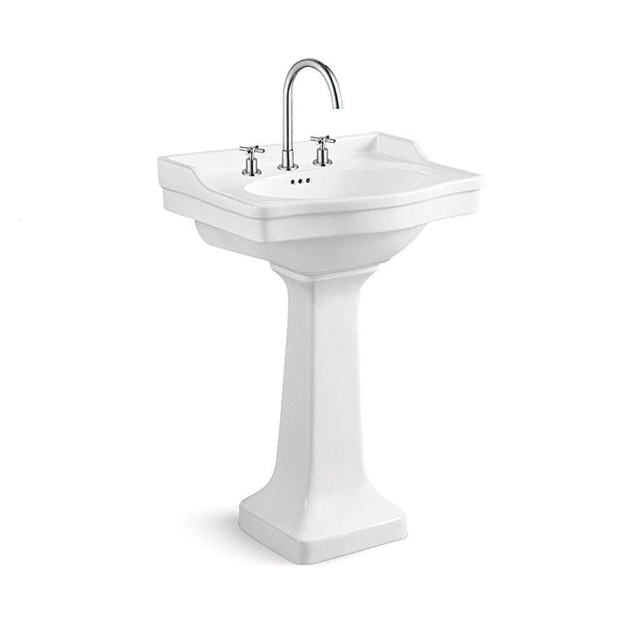 - Randolph Morris 24 Inch Pedestal Sink With Backsplash - 8 Inch