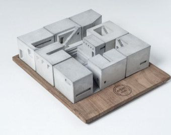 Miniature Concrete Home 9 by MaterialImmaterial on Etsy