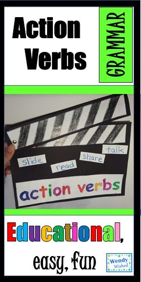 Action Verb Craft Activity for Grammar and ELA Action verbs - action verbs