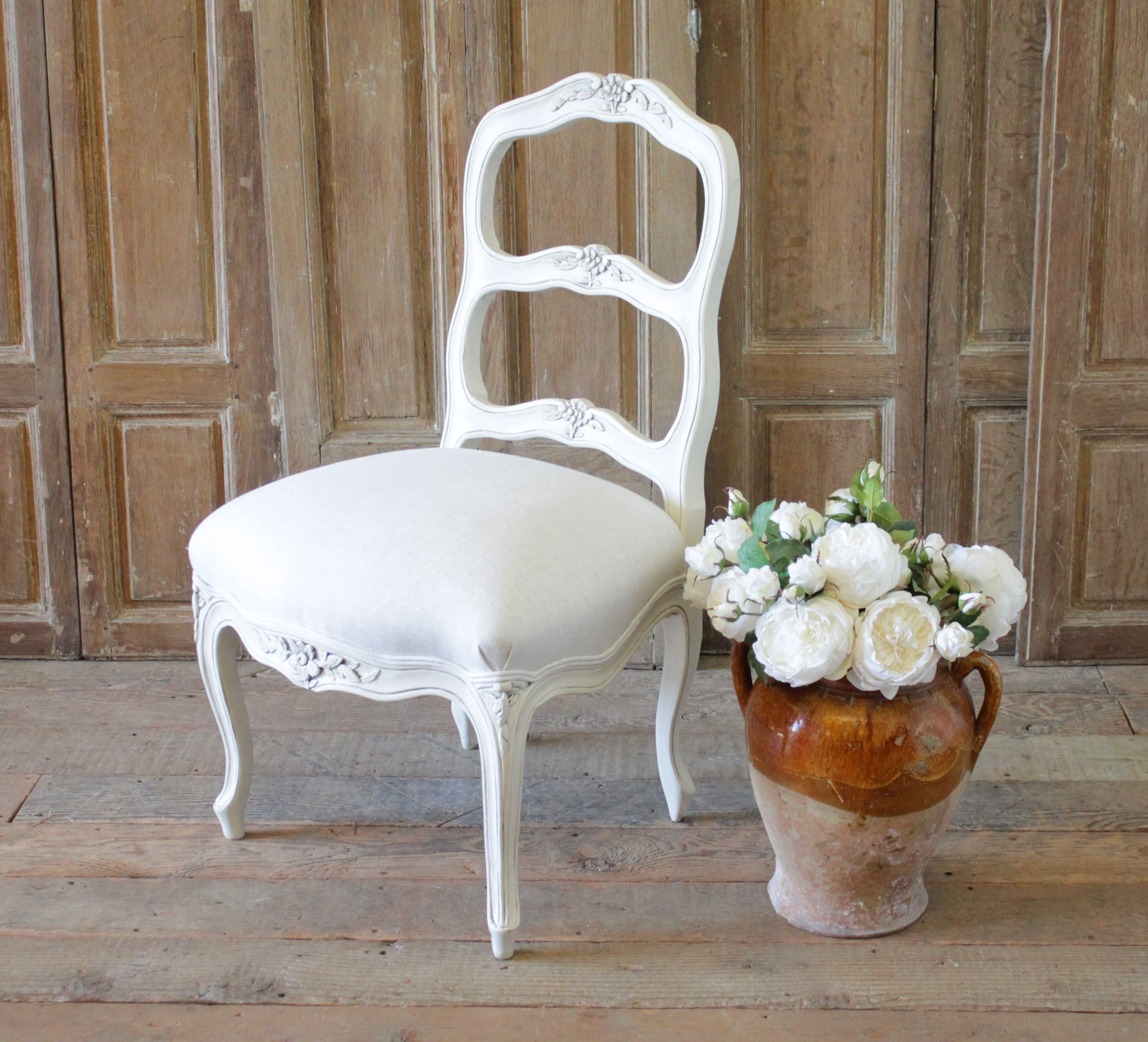Monterey Style Ladder Back Accent Chair: 20th Century French Country Style Ladder Back Accent Chair